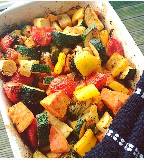 paprika, veg and chicken bake