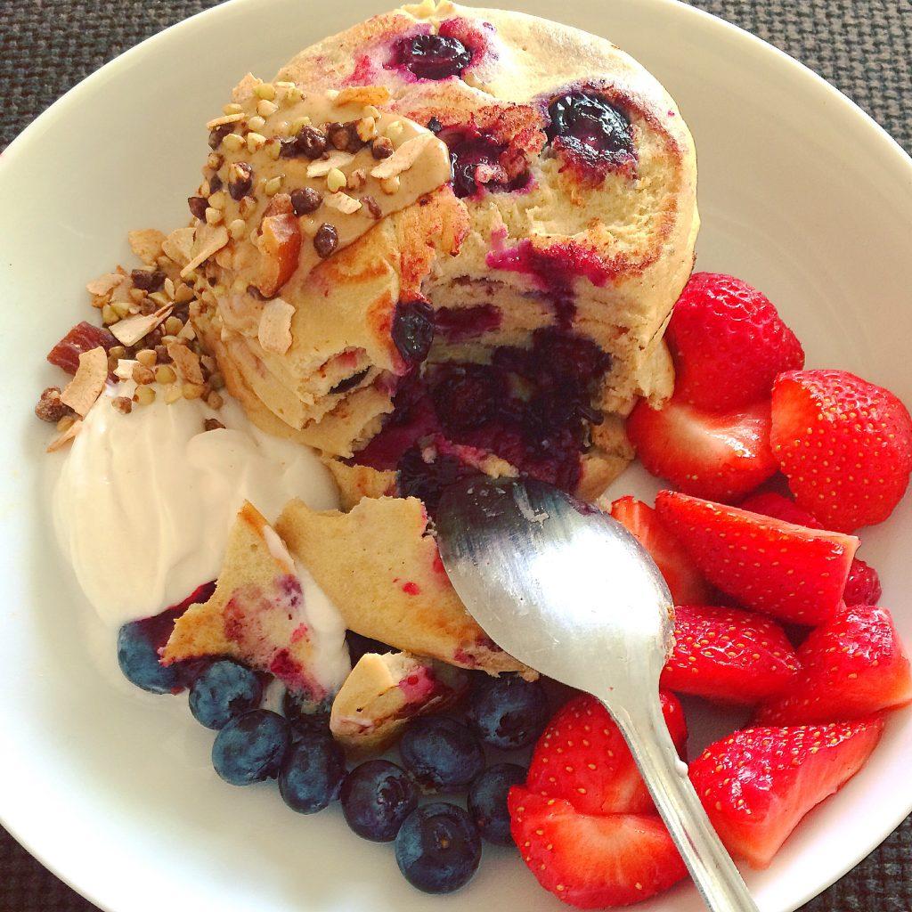 blueberry & buckwheat protein pancakes