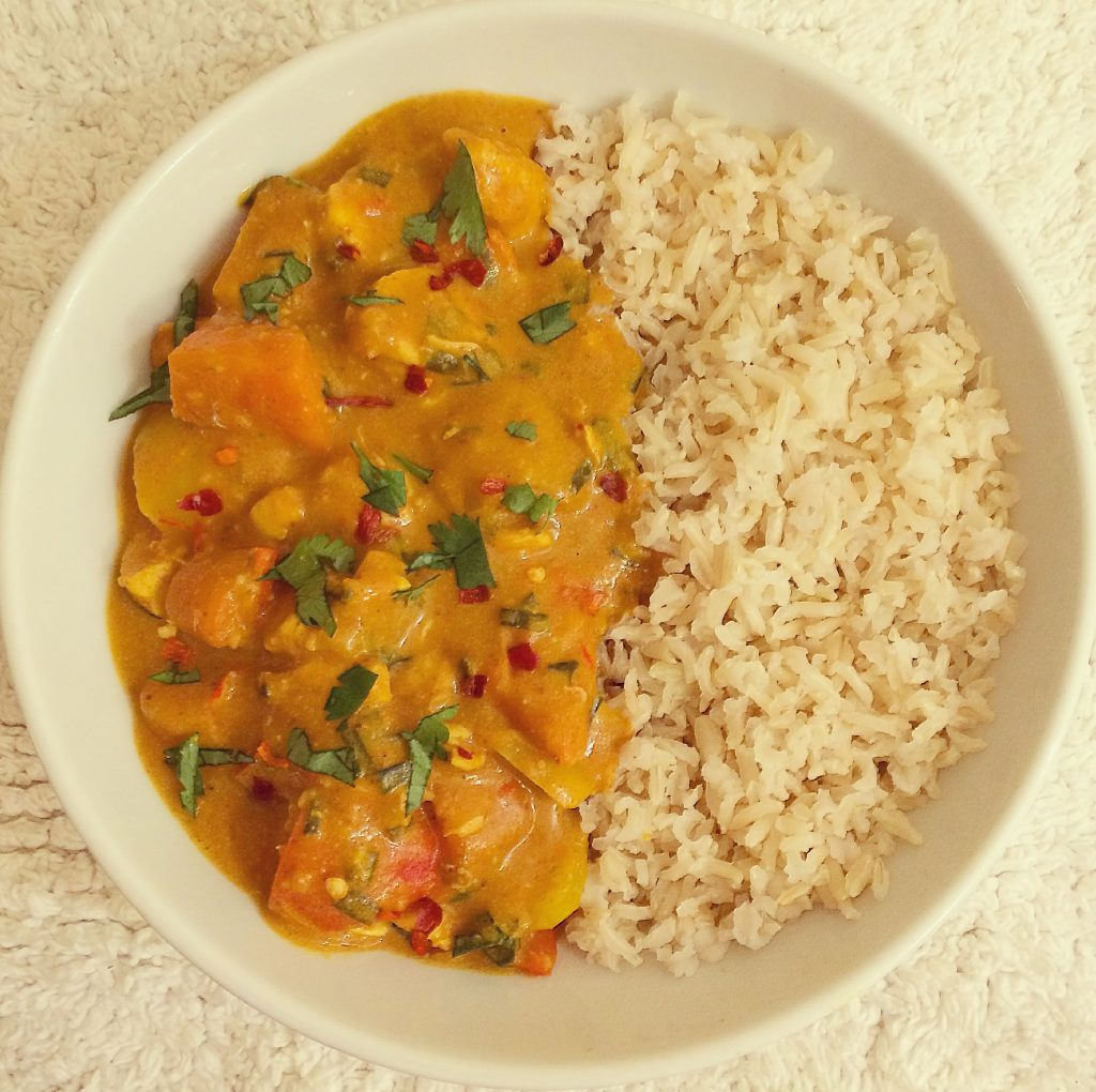 chicken in a coconut and peanut sauce