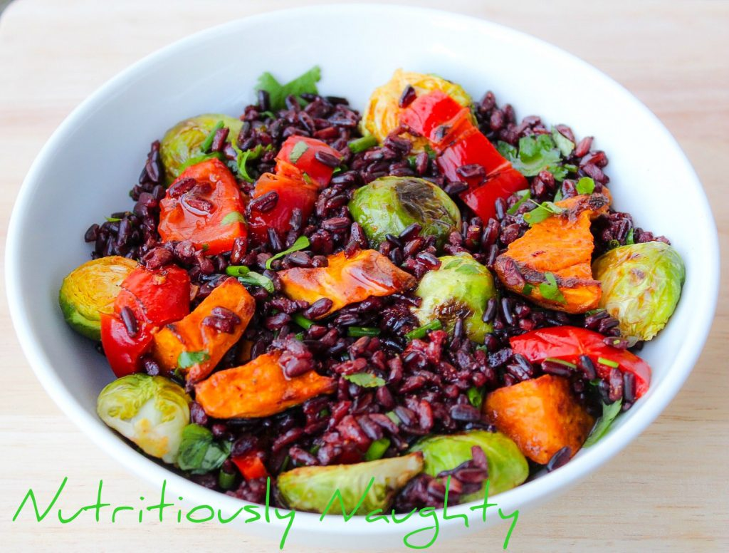 black rice salad with a spicy lemon dressing
