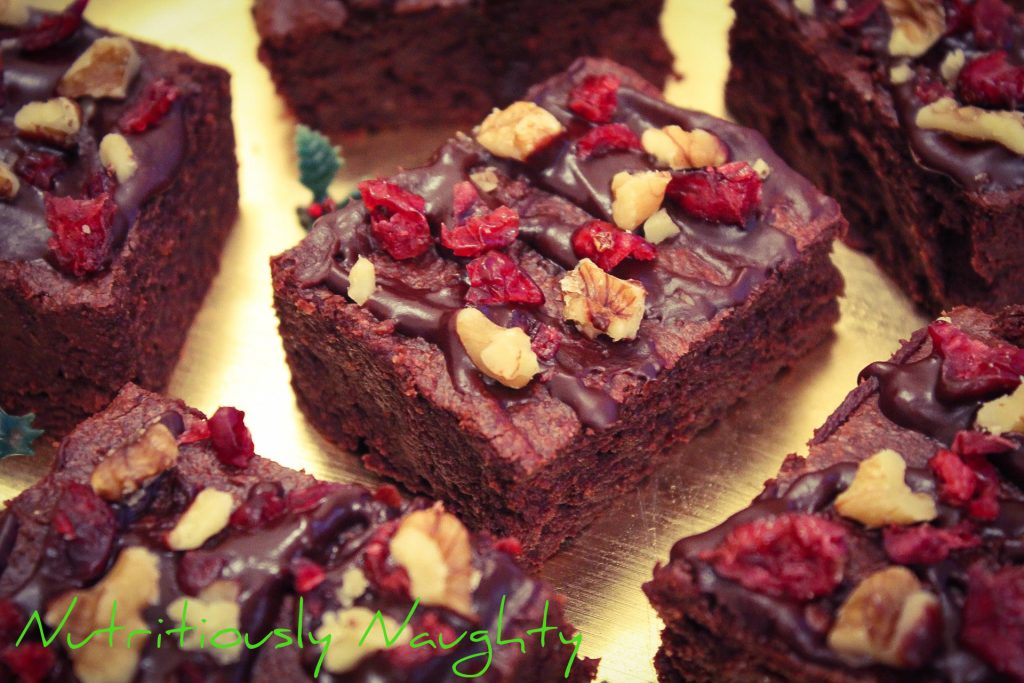 vegan cranberry & walnut brownies
