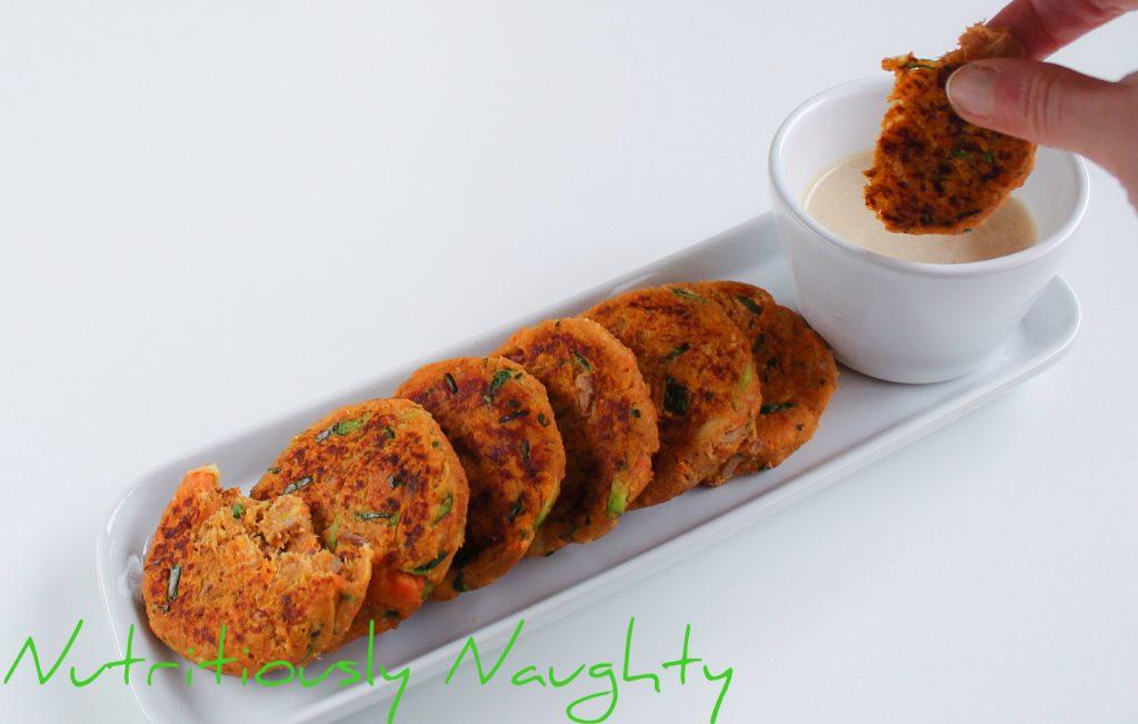 tuna & sweet potato cakes with a tahini dipping sauce