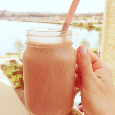 Chocolate and Strawberry Protein Smoothie