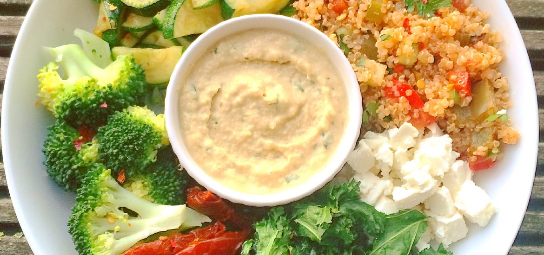 green bowl with lemon coriander houmous