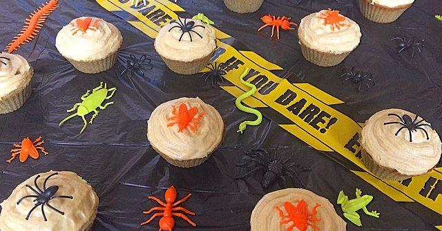halloween inspired pumpkin seed cupcake