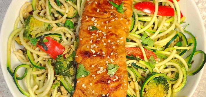 tamari and ginger glazed salmon with courgetti