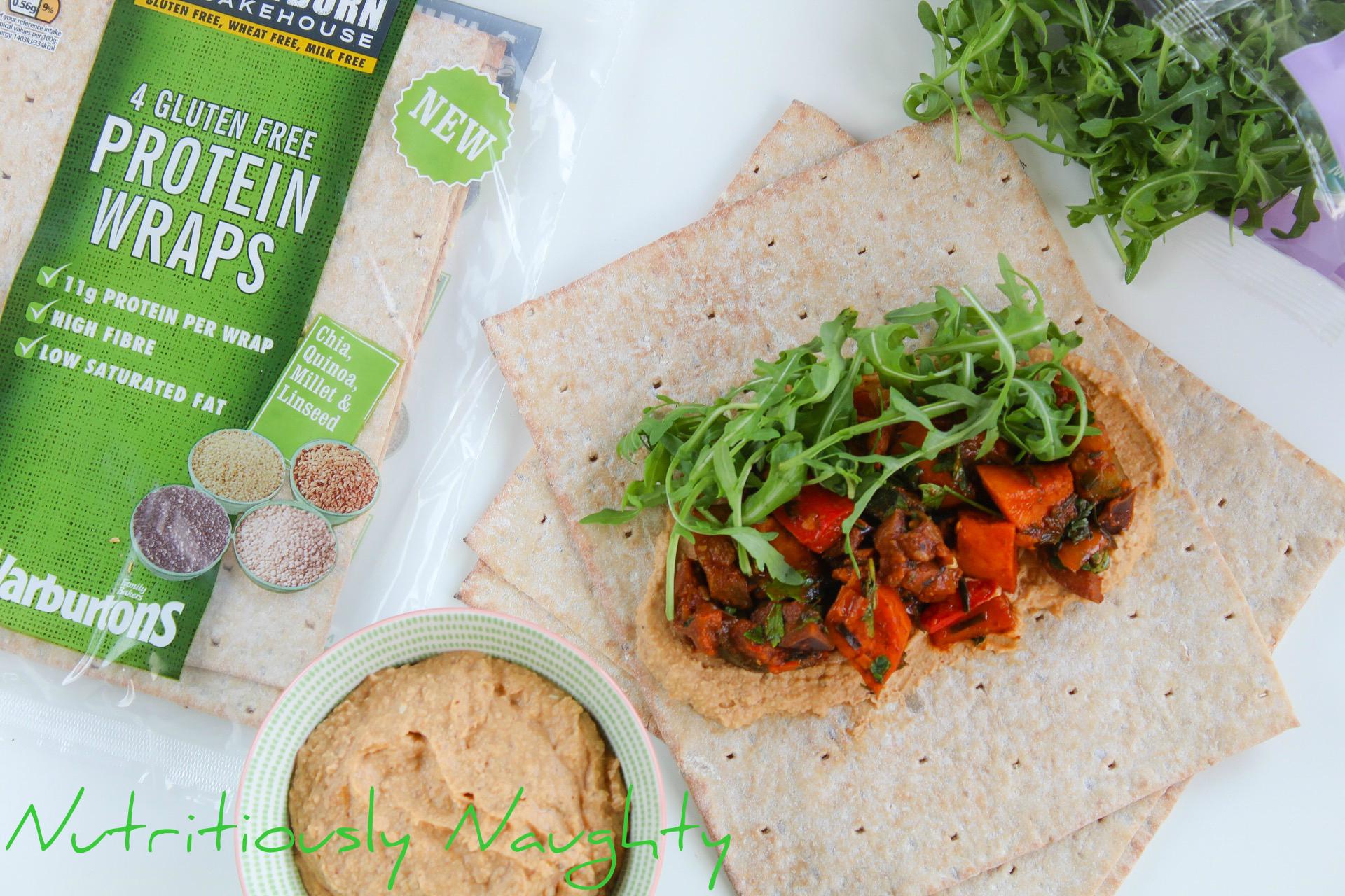 Paprika Veg with Za'atar Houmous and Newburn Bakehouse Gluten Free Protein Wraps