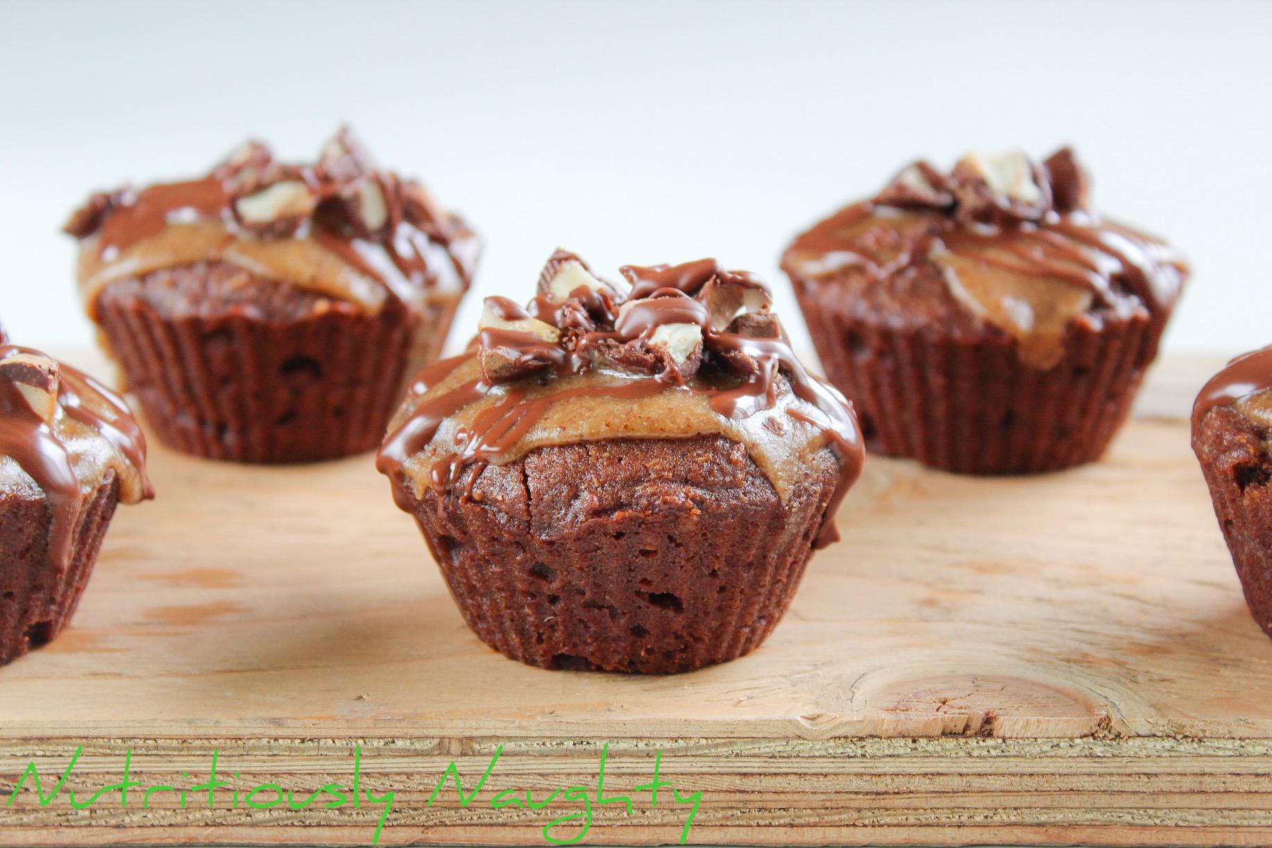 Vegan caramel-topped chocolate cupcakes
