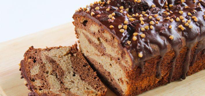 cacao, buckwheat & banana marble loaf cake